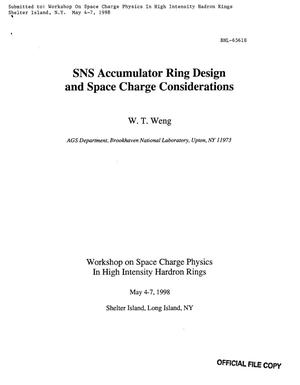 Primary view of object titled 'SNS ACCUMULATOR RING DESIGN AND SPACE CHARGE CONSIDERATIONS'.