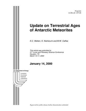 Primary view of object titled 'Update on terrestrial ages of Antarctic meteorites'.