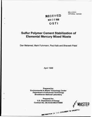 Primary view of object titled 'Sulfur polymer cement stabilization of elemental mercury mixed waste'.