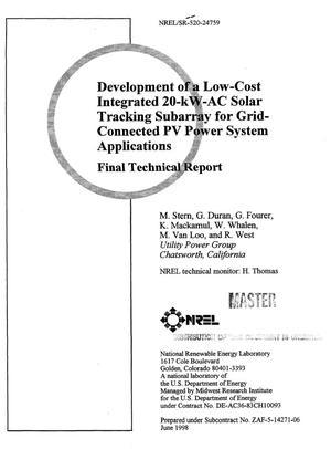 Primary view of object titled 'Development of a low-cost integrated 20-kW-AC solar tracking subarray for grid-connected PV power system applications. Final technical report'.