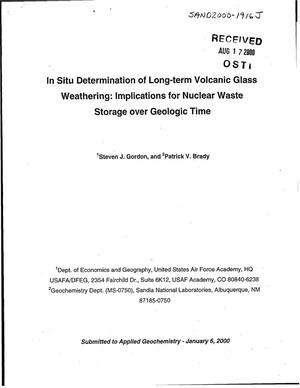 Primary view of object titled 'In Situ Determination of Long-Term Volcanic Glass Weathering: Implications for Nuclear Waste Storage over Geologic Time'.
