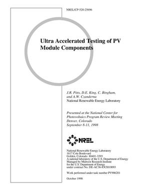 Primary view of object titled 'Ultra Accelerated Testing of PV Module Components'.