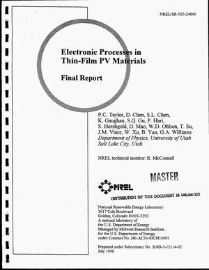 Primary view of object titled 'Electronic processes in thin-film PV materials. Final report'.