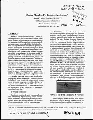 Primary view of object titled 'Contact modeling for robotics applications'.