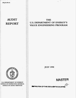 Primary view of object titled 'The U.S. Department of Energy`s Value Engineering Program: Audit report'.