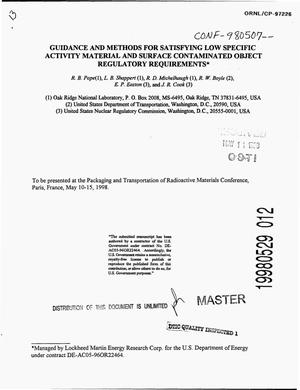 Primary view of object titled 'Guidance and methods for satisfying low specific activity material and surface contaminated object regulatory requirements'.
