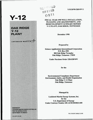 Primary view of object titled 'Fiscal Year 1998 Well Installation, Plugging and Abandonment, and Redevelopment summary report Y-12 Plant, Oak Ridge, Tennessee'.