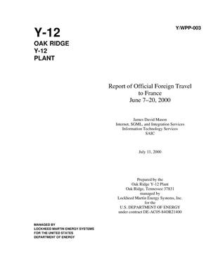 Primary view of object titled 'Report of official foreign travel to France, June 7--20, 2000'.