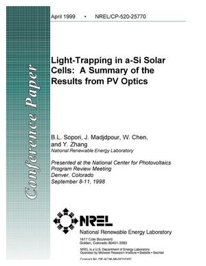 Primary view of object titled 'Light-Trapping in a-Si Solar Cells: A Summary of the Results from PV Optics'.