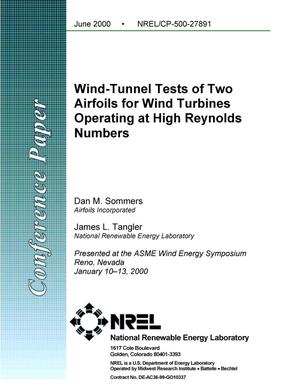 Primary view of object titled 'Wind tunnel tests of two airfoils for wind turbines operating at high reynolds numbers'.
