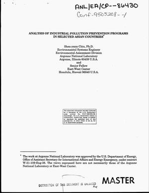 Primary view of object titled 'Analysis of industrial pollution prevention programs in selected Asian countries'.