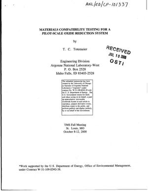 Primary view of object titled 'Materials compatibility testing for a pilot-scale oxide reduction system'.