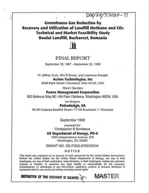 Primary view of object titled 'Greenhouse gas reduction by recovery and utilization of landfill methane and CO{sub 2} technical and market feasibility study, Boului Landfill, Bucharest, Romania. Final report, September 30, 1997--September 19, 1998'.