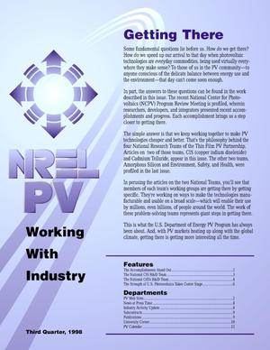Primary view of object titled 'NREL PV working with industry, Third quarter 1998'.