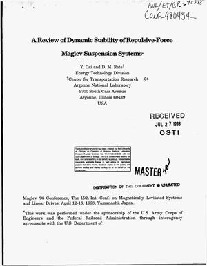 Primary view of object titled 'A review of dynamic stability of repulsive-force maglev suspension systems'.