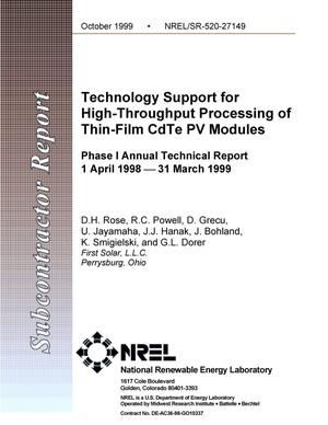 Primary view of object titled 'Technology support for high-throughput processing of thin-film CdTe PV modules: Annual technical report, Phase 1, 1 April 1998--31 March 1999'.