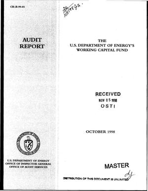 Primary view of object titled 'Office of Inspector General audit report on ``The U.S. Department of Energy`s Working Capital Fund``'.