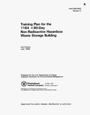 Primary view of object titled 'Training plan for the 1164 {lt}90-day non-radioactive hazardous waste storage building'.