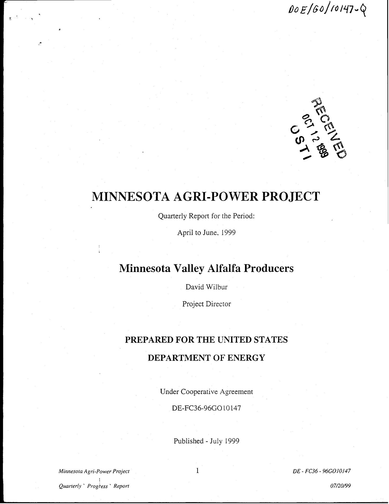 Minnesota Agri-Power Project. Quarterly report, April-June 1999                                                                                                      [Sequence #]: 1 of 15