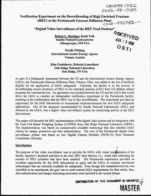Primary view of object titled 'Verification experiment on the downblending of high enriched uranium (HEU) at the Portsmouth Gaseous Diffusion Plant. Digital video surveillance of the HEU feed stations'.