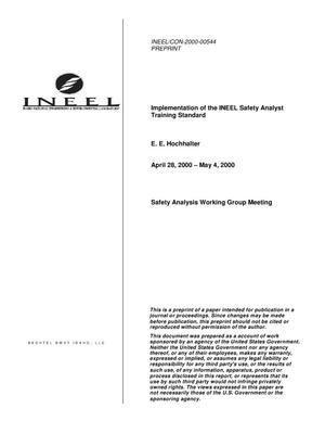 Primary view of object titled 'Implementation of the INEEL safety analyst training standard'.