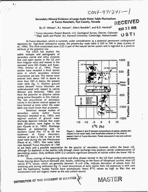 Primary view of object titled 'Secondary mineral evidence of large-scale water table fluctuations at Yucca Mountain, Nye County, Nevada'.