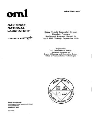 Primary view of object titled 'Heavy vehicle propulsion system materials program semiannual progress report for April 1998 thru September 1998'.