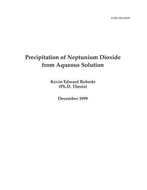 Primary view of object titled 'Precipitation of neptunium dioxide from aqueous solution'.