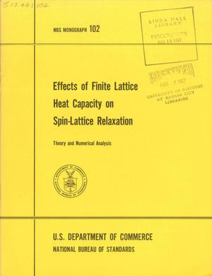 Primary view of object titled 'Effects of Finite Lattice Heat Capacity on Spin Lattice Relaxation: Theory and Numerical Analysis'.