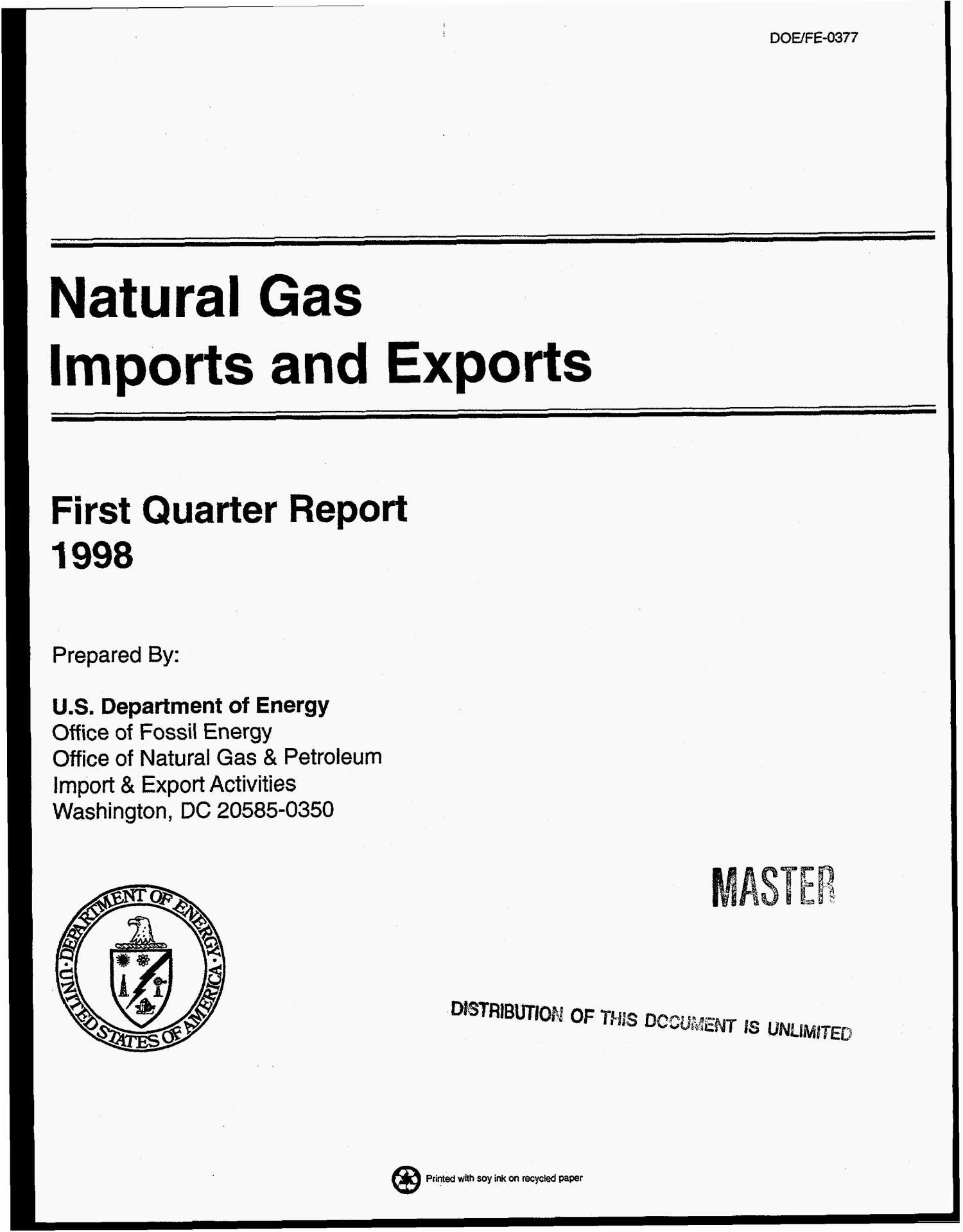 Natural gas imports and exports. First quarter report, 1998                                                                                                      [Sequence #]: 1 of 189