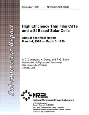 Primary view of object titled 'High efficiency thin film CdTe and a-Si based solar cells'.