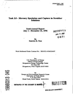 Primary view of object titled 'Task 2.8 -- Mercury speciation and capture in scrubber solutions. Semi-annual report, July 1--December 31, 1996'.