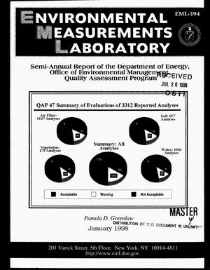 Primary view of object titled 'Semi-annual report of the Department of Energy, Office of Environmental Management, Quality Assessment Program'.