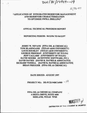 Primary view of object titled 'Application of integrated reservoir management and reservoir characterization to optimize infill drilling. Annual technical progress report, June 13, 1996--June 12, 1997'.