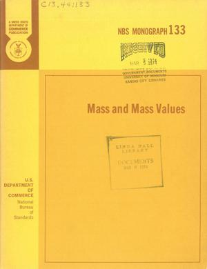 Primary view of object titled 'Mass and Mass Values'.