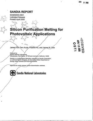 Primary view of object titled 'Silicon purification melting for photovoltaic applications'.