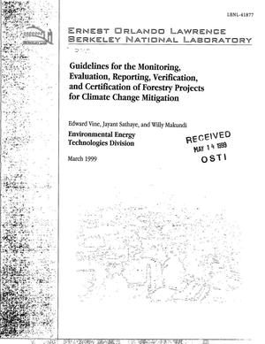 Primary view of object titled 'Guidelines for the Monitoring, Evaluation, Reporting, Verification, and Certification of Forestry Projects for Climate Change Mitigation'.