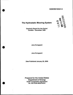 Primary view of object titled 'The hydrostatic mooring system. Quarterly report for the period October - December 1999'.