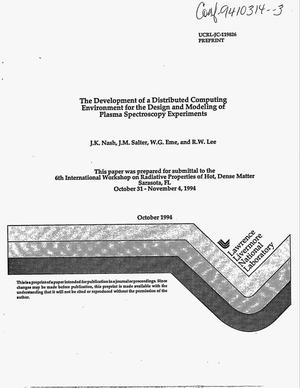 Primary view of object titled 'The development of a distributed computing environment for the design and modeling of plasma spectroscopy experiments'.