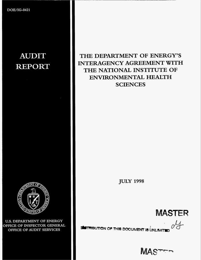 The Department Of Energys Interagency Agreement With The National