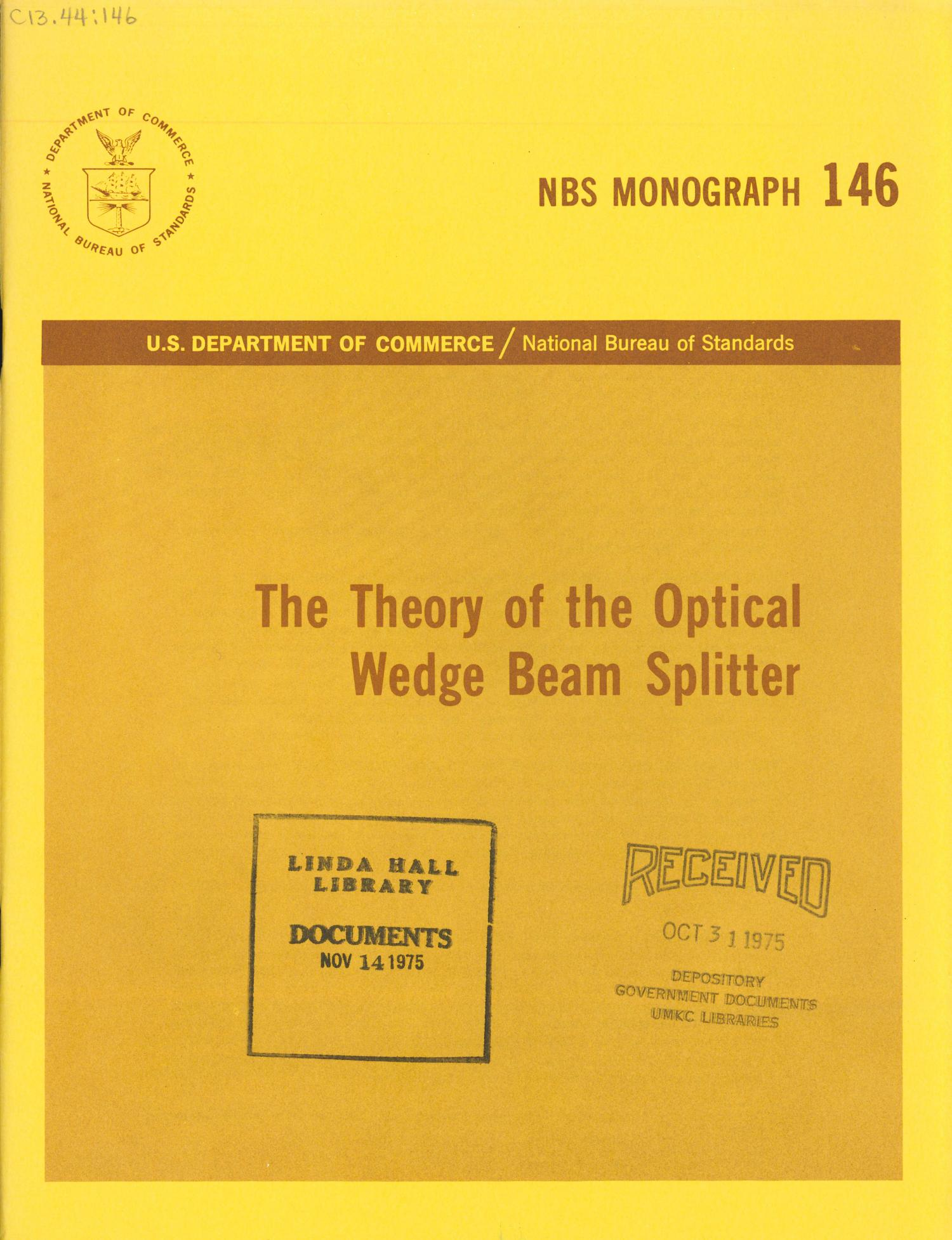 The Theory Of The Optical Wedge Beam Splitter Digital