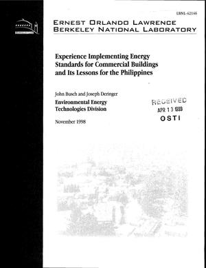 Primary view of object titled 'Experience implementing energy standards for commercial buildings and its lessons for the Philippines'.