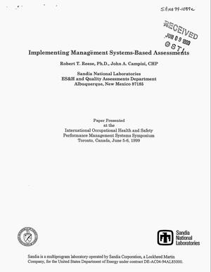 Primary view of object titled 'Implementing Management Systems-Based Assessments'.