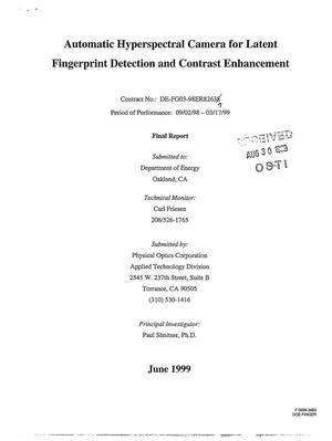 Primary view of object titled 'Automatic hyperspectral camera for latent fingerprint detection and contrast enhancement. Final report, September 2, 1998 - March 17, 1999'.