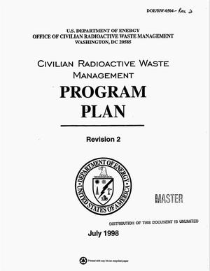Primary view of object titled 'Civilian radioactive waste management program plan. Revision 2'.