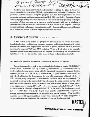 Primary view of object titled 'Resonance enhanced multiphoton ionization spectra of molecules and molecular fragments. Annual progress report, March 1992--February 1993'.