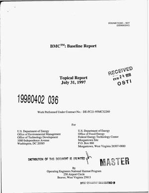 Primary view of object titled 'BMC{trademark}: Baseline report'.