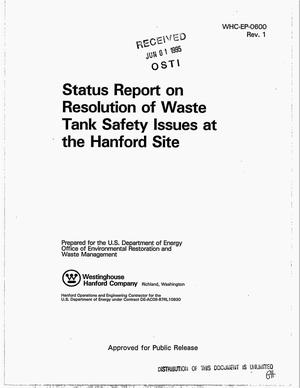 Primary view of object titled 'Status report on resolution of Waste Tank Safety Issues at the Hanford Site. Revision 1'.