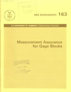 Primary view of object titled 'Measurement Assurance for Gage Blocks'.