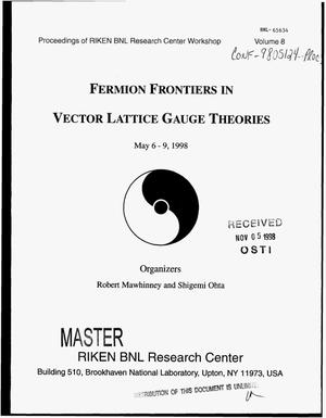 Primary view of object titled 'Fermion frontiers in vector lattice gauge theories: Proceedings. Volume 8'.